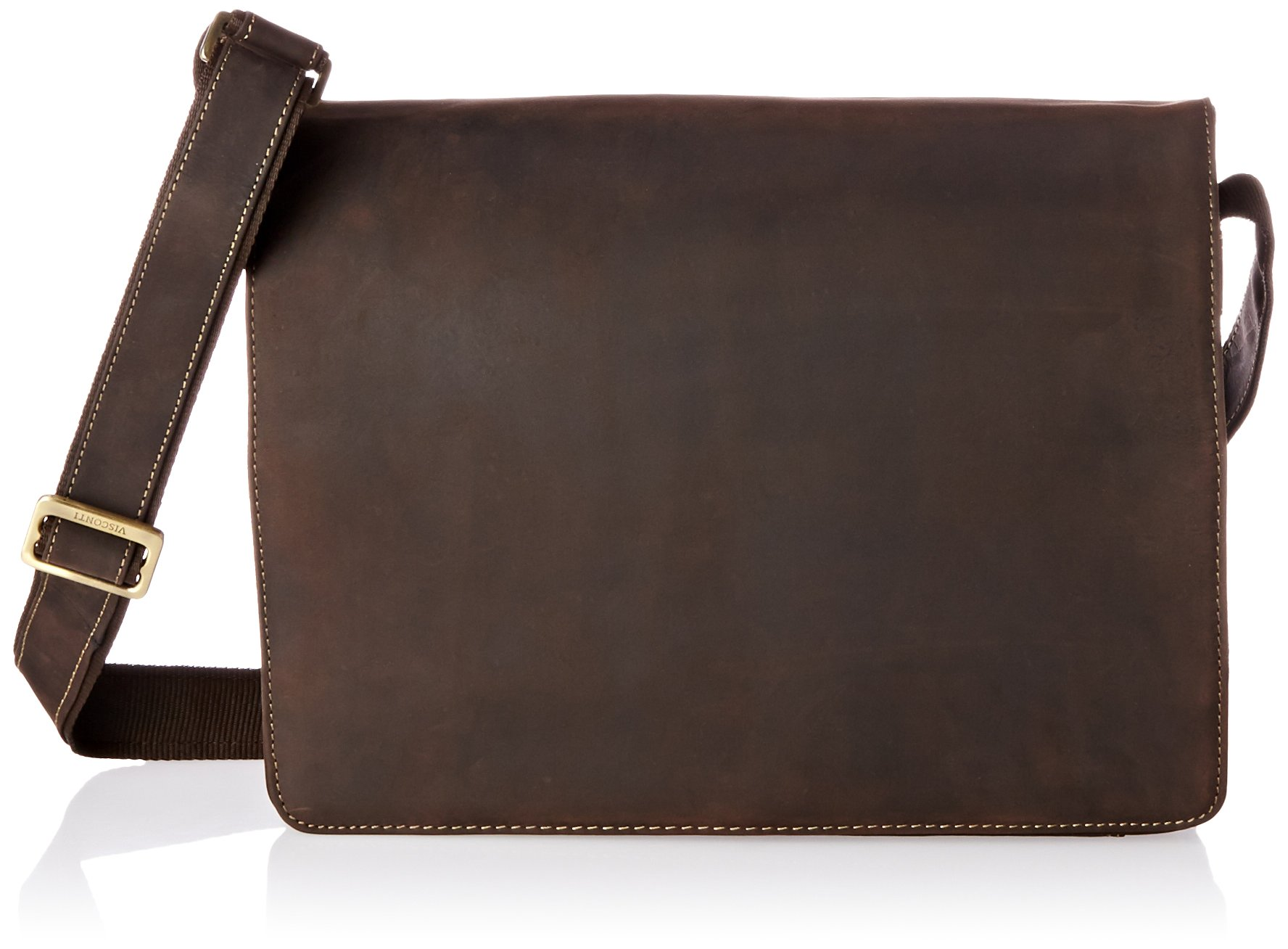 Visconti Visconti Leather Distressed Messenger Bag Harvard Collection, Mocha, One Size