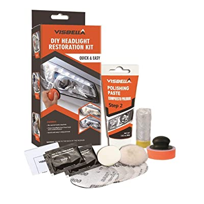 Visbella Professional Headlight Restoration Kit DIY Headlamp Brightener Car Care Repair kit Head Lense Clean (Manual): Automotive