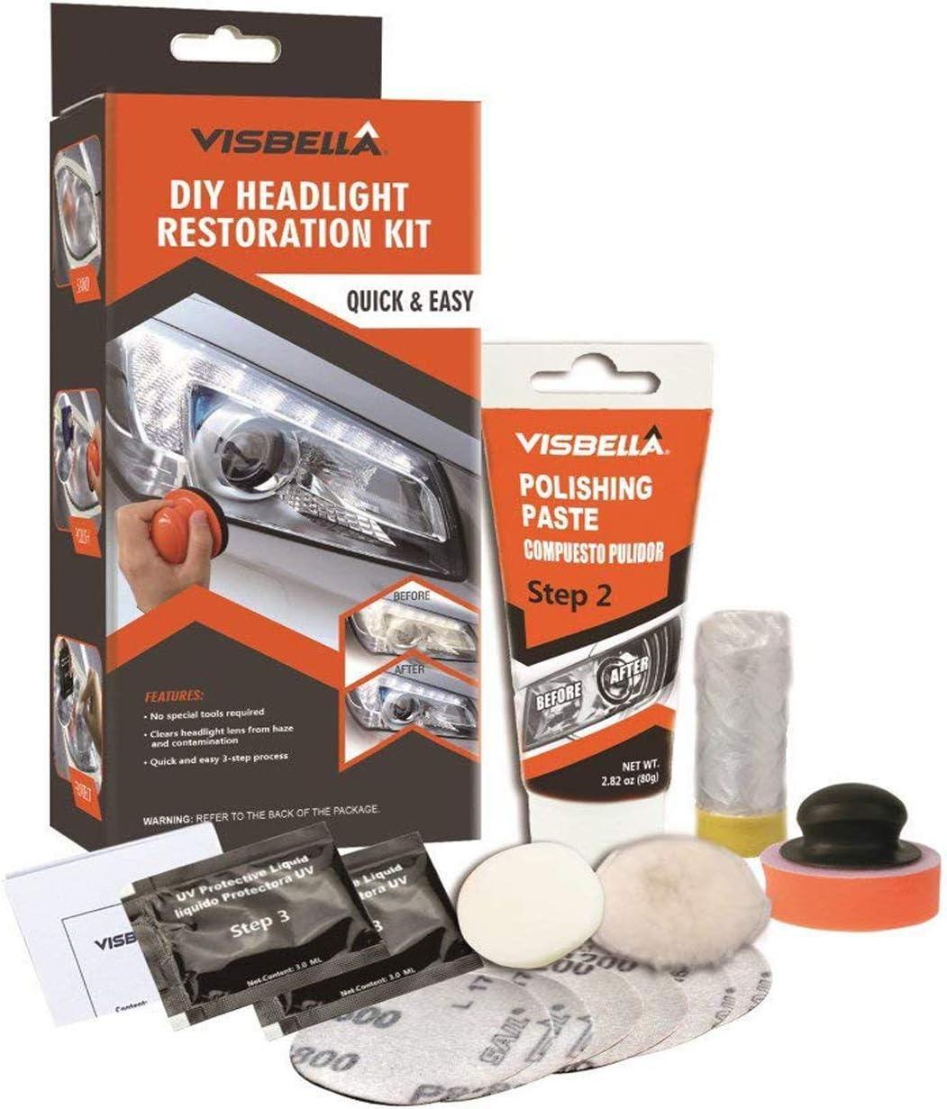 Visbella Kit de restauración de Faros Delanteros con Pulido, para Restaurar Faros turbios, amarillentos o Desgastados,Manual