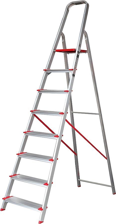 Escalera SUPER de Tijera de Aluminio Peldaño Ancho 12 cm (8 Peldaños con Ancho 12 cm). BTF-TJB308: Amazon.es: Bricolaje y herramientas