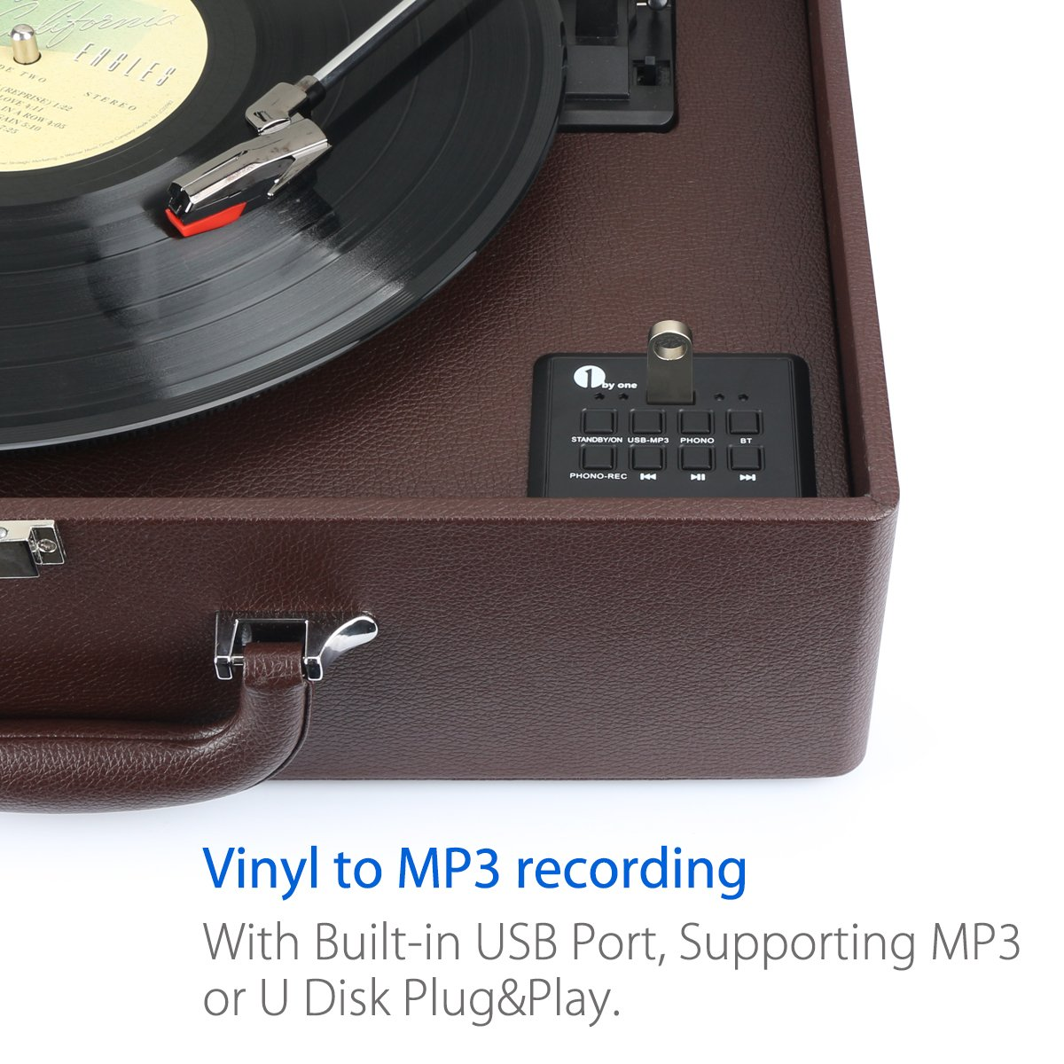 Bluetooth Support and Vinyl-to-MP3 Recording Belt Driven Record Player 1byone Suit-case Style Turntable with Speaker Black