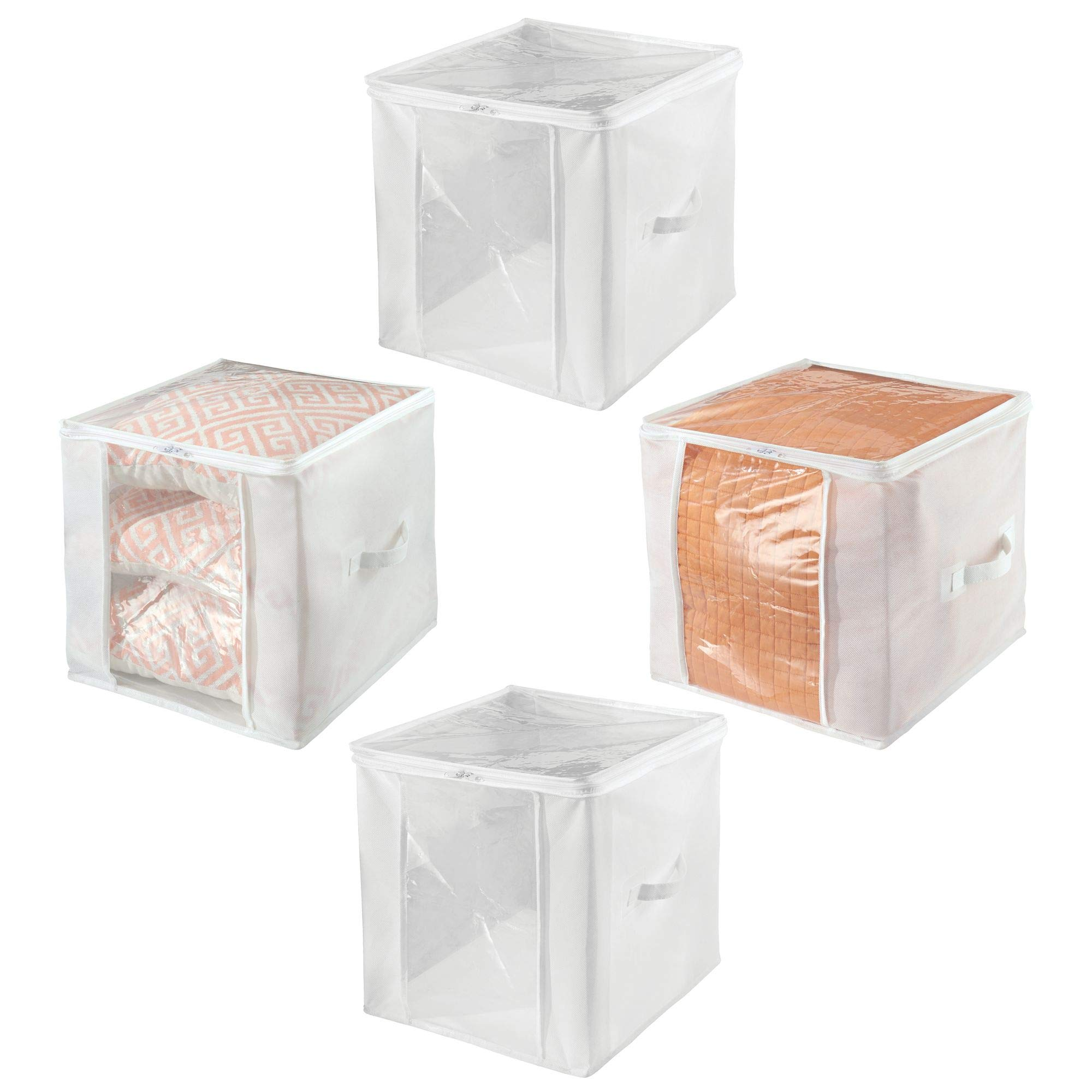 mDesign Soft Fabric Closet Storage Organizer Zipper Bag, Large Cube - Clear Window, Attached Lid with Zipper Closure, Built-in Handles for Bedroom, Hallway, Entryway Closets - Pack of 4, Clear/White
