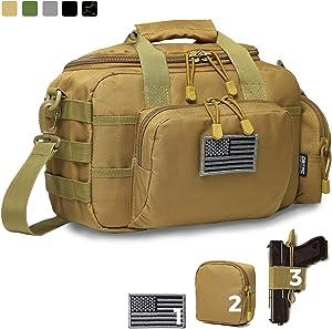 DBTAC Gun Range Bag Small | Tactical 2X Pistol Shooting Range Duffle Bag with Lockable Zipper for Handguns and Ammo