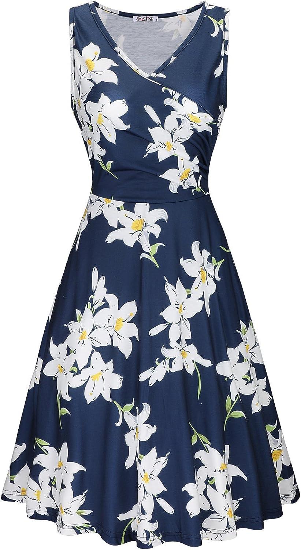 KILIG Women's Casual Dress V Neck A Line Cap Sleeveless Summer Casual Elegant Wrap Midi Dress