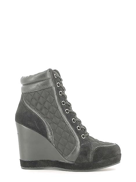 FORNARINA Sneaker alta donna nera zeppa