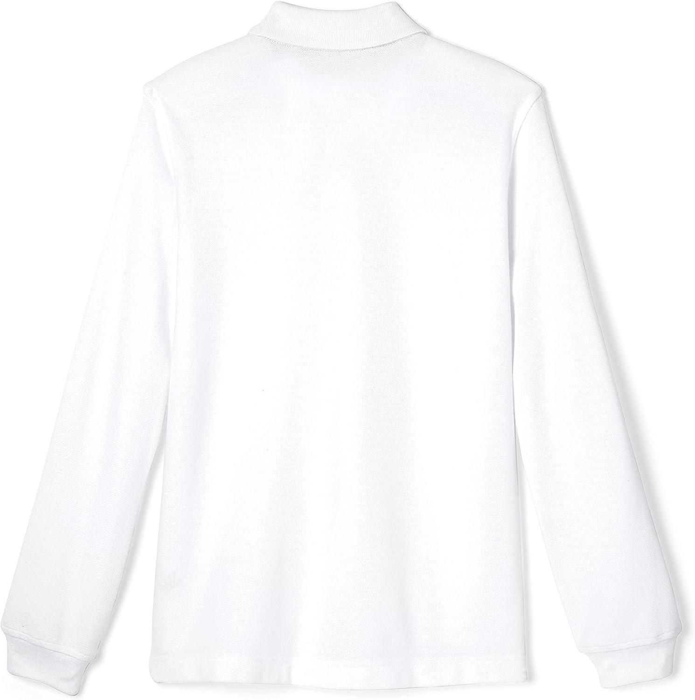 French Toast Boys Long Sleeve Interlock Uniform White Polo Shirt
