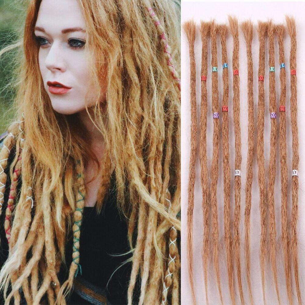 AOSOME Human Hair Dreads 20 inch 10 Strands Full Handmade Dreadlock Extensions Crochet Hair Light Brown Color