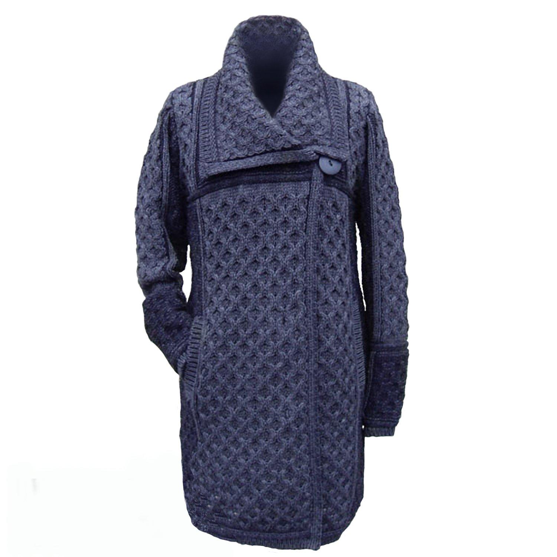 Irish Merino Wool Single Button Plated Coat (Extra Large, Navy)