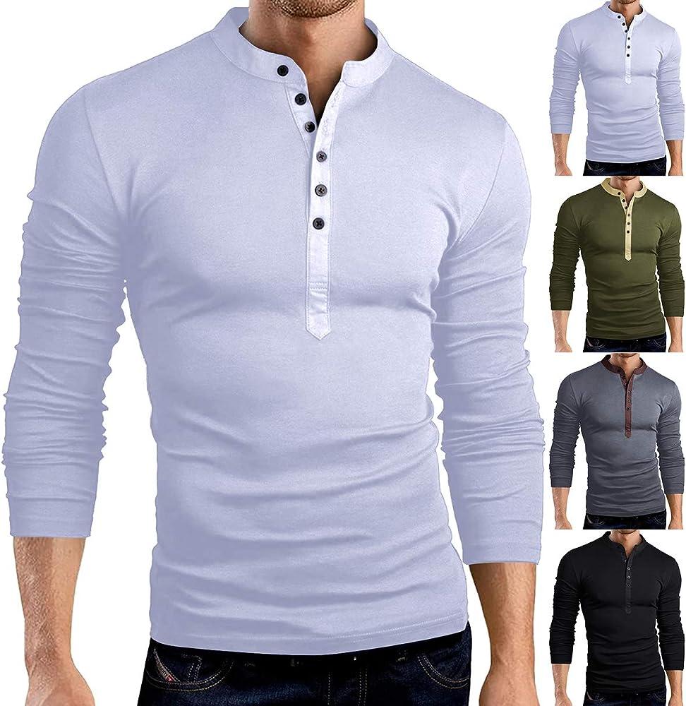 Chennie Camisas de Jersey de Manga Larga Delgada para Hombre con Cuello en v Camisa con Cuello en v para Casual: Amazon.es: Ropa y accesorios