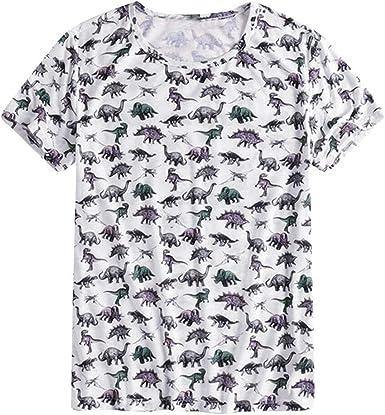ZODOF Camisa de hombreMens Verano para Hombre Camisa de Manga Corta con Estampado de Dinosaurio y Camisa de Manga Corta con Estampado de Dinosaurio para Hombre de la Moda Manga Corta Camiseta: