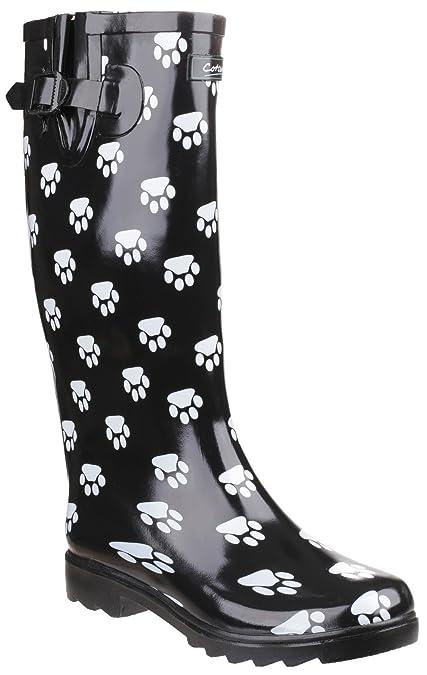 Cotswold Dog Paw Black - Chaussures Bottes de pluie Femme