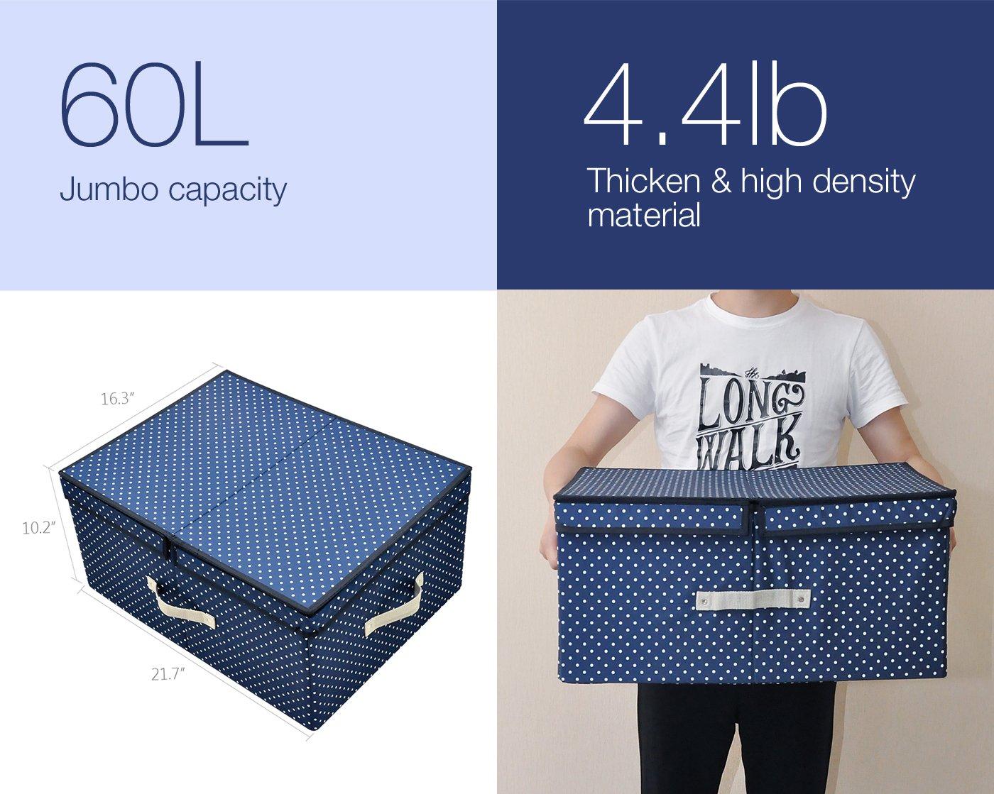 Tamaño Jumbo, diseño plegable, Tela gruesa de poliéster, recipientes de almacenamiento, ropa Organizador Caja con tapadera y placas de división removible, ...