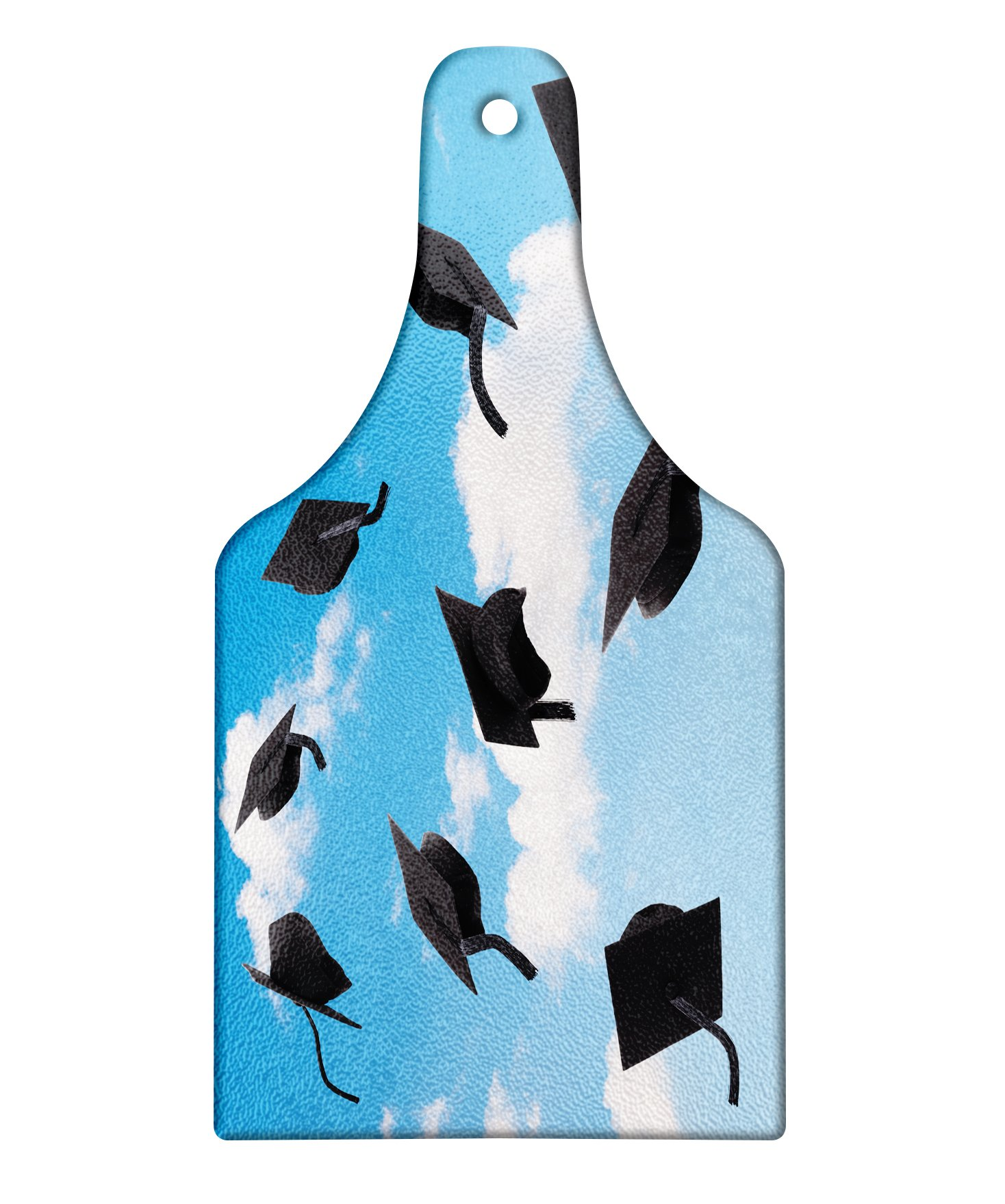 Lunarable Graduation Cutting Board, Caps Thrown into Sky Last of The School Highschool College Ceremony Picture, Decorative Tempered Glass Cutting and Serving Board, Wine Bottle Shape, Blue Black by Lunarable (Image #1)