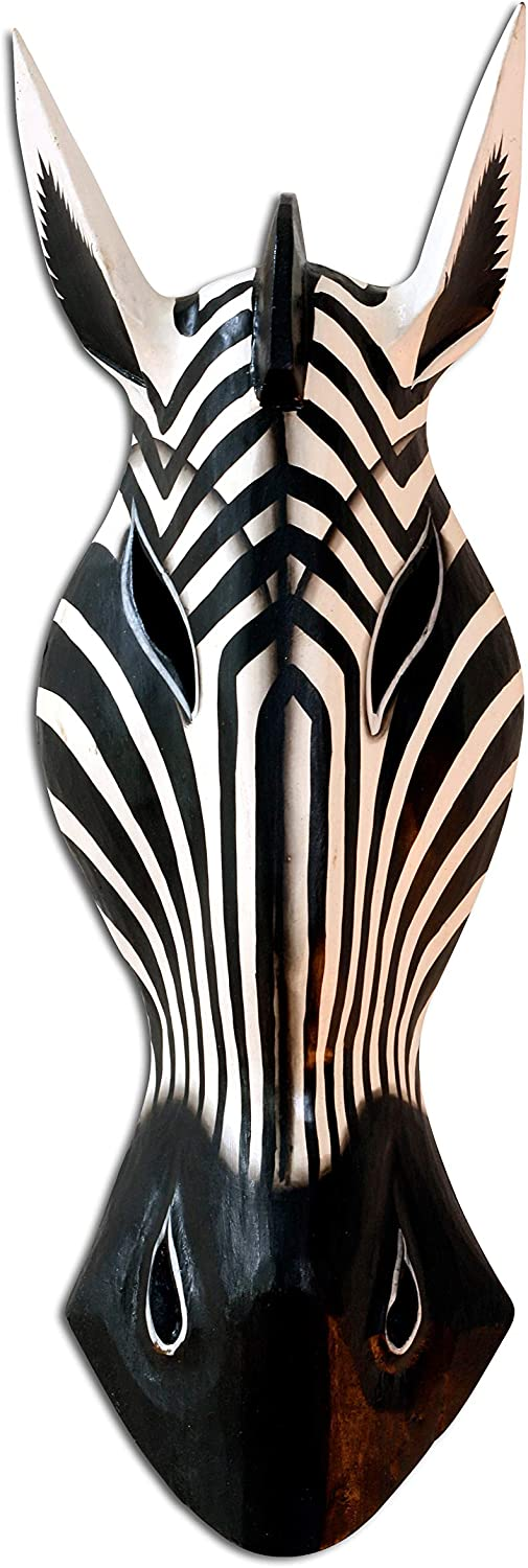 "G6 COLLECTION Wooden Tribal Zebra Mask Black White Stripe Hand Carved Wall Plaque Hanging Home Decor Accent Art Unique Sculpture Decoration Handmade Handcrafted Decorative Zebra Black White (12"" Tall)"