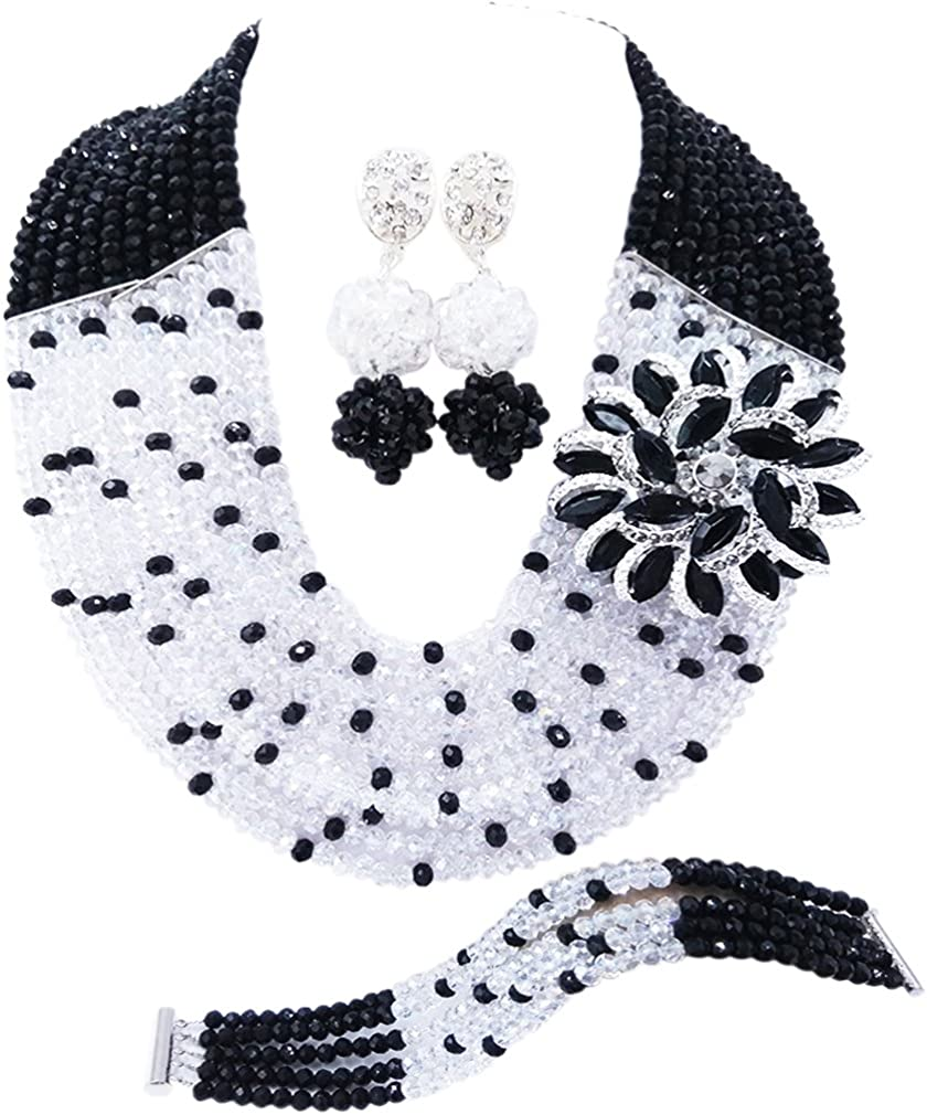 Laanc Mode du Nigeria de mariage Cristal Collier africain Ensemble de bijoux de mari/ée Accessoires pour femme bijouterie