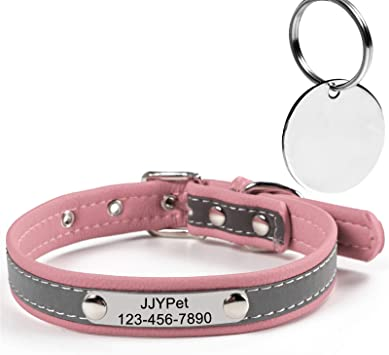 phone number etc Custom leather cat collar Name stamped in leather FREE shipping in USA address