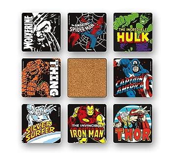 Marvel Comics - Superhéroes Juego de posavasos de nevera - Juego de 8 coaster - multicolor - Diseño original con licencia - Logoshirt: Amazon.es: Hogar