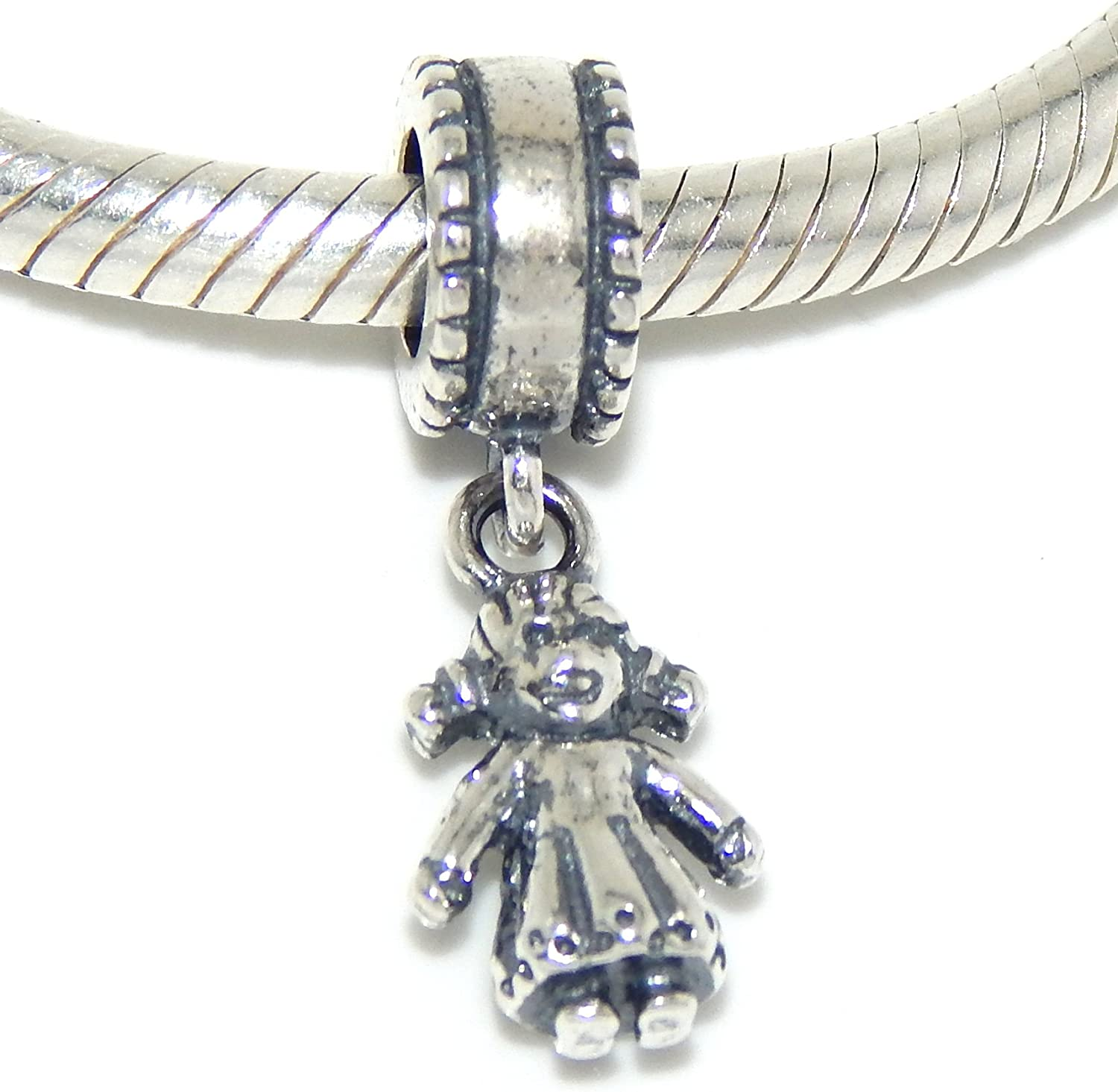 925 Sterling Silver Dangling Doll Charm Bead