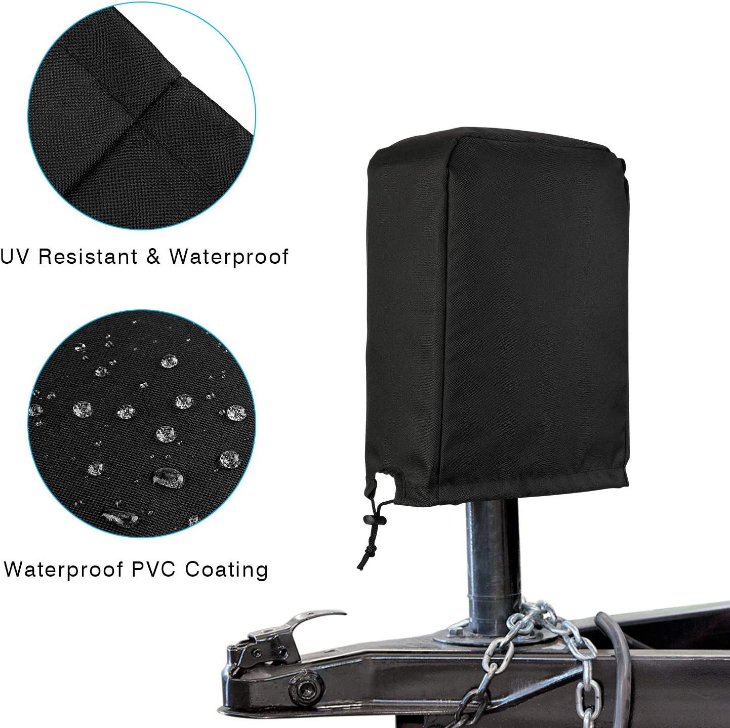 Black Large Waterproof Electric Tongue Jack Cover For RV Power Trailer Brand New