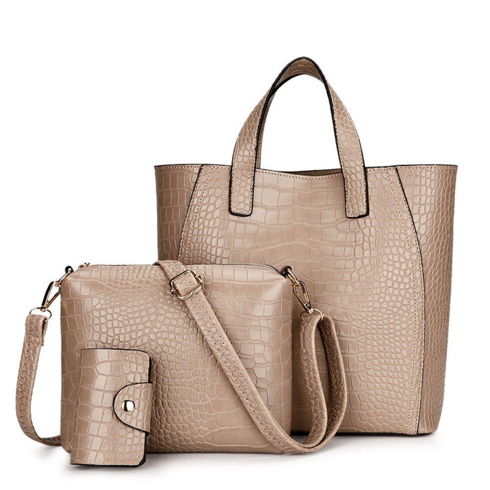 Women'S Handbag Single Shoulder Bag,Khaki,Three Piece Set