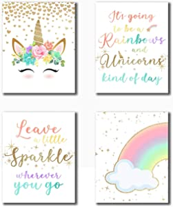 "Rainbow Unicorn Theme Art Prints (8""X10"" Canvas Picture)One Group of 4 Art Paintings Girls Room Decor Unicorn Wall Decor Kids Room Decor For Girls Posters For Posters For Teen Girls Room Frameless"