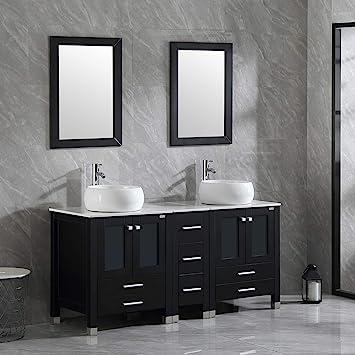Walnest 60 Black Bathroom Vanity Sink Tops Cabinet And Sink Faucet Drain Mirror Set Vanities Artificial Stone Countertop White Round Basin Amazon Com