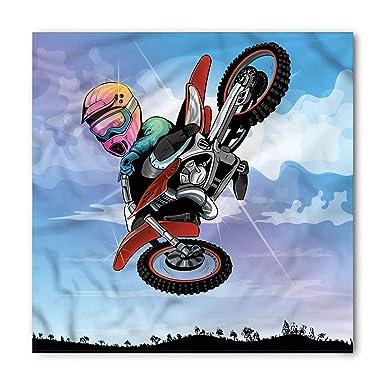 Amazon.com: Lunarable Dirt Bike Bandana, Cartoon Motocross ...