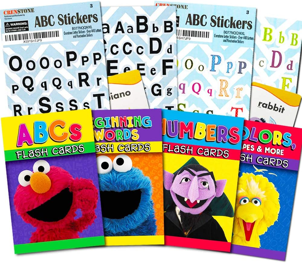 Amazon Com Sesame Street Flash Cards Set For Toddlers Bundle Includes Abcs Numbers Colors Shapes And More Toys Games