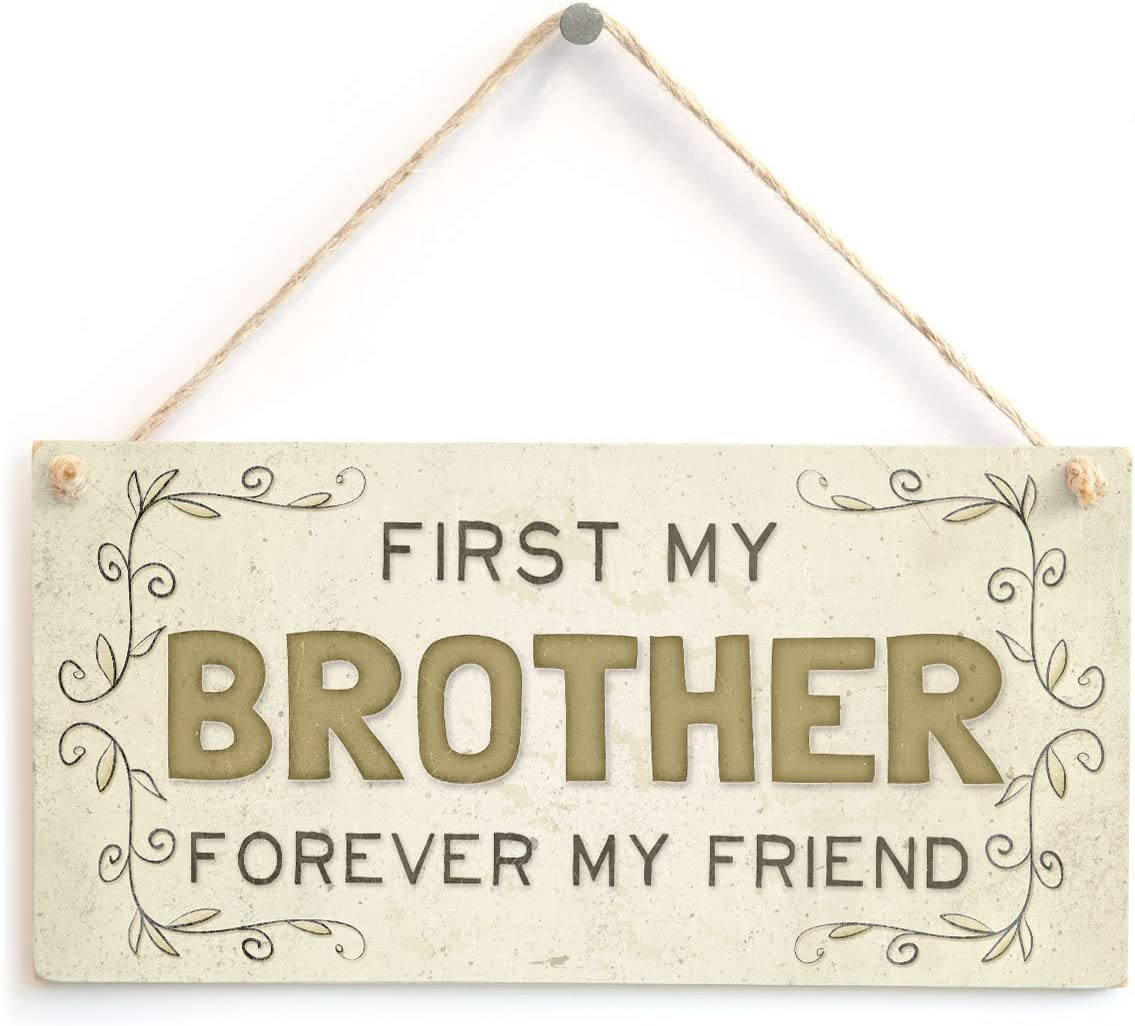 """Meijiafei First My Brother My Friend - Beautiful Home Accessory Gift Sign for Siblings 10""""x5"""""""