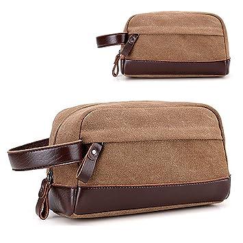 194a323b8d8e Amazon.com   VOCUS Canvas Travel Toiletry Bag for Men Shaving Dopp Kit  Travel Bathroom Cosmetic Makeup Bag   Beauty