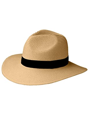 aa48d463840f73 Ellos Women's Plus Size Straw Panama Hat - Natural, One Size at Amazon  Women's Clothing store: