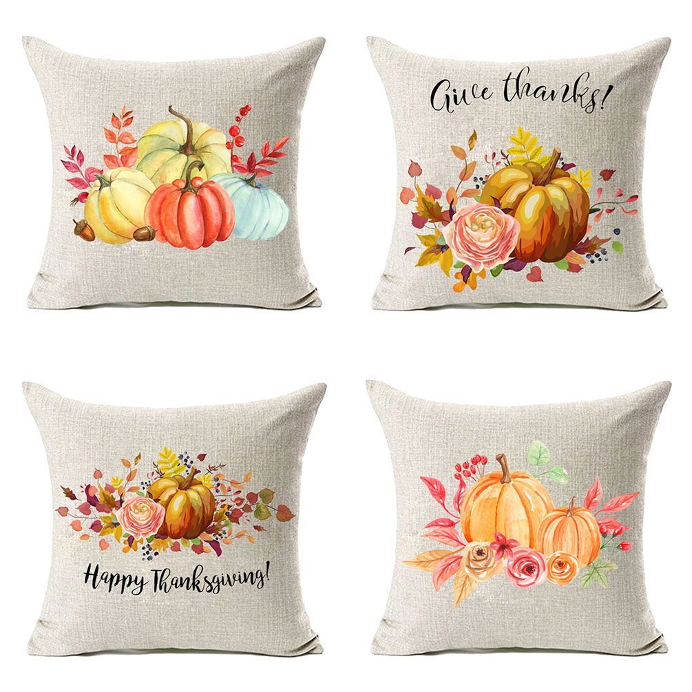 MFGNEH Fall Decor Flowers Pumpkin Leaves Thanksgiving Decorations Cotton Linen Throw Pillow Cover 18x18 inch Set of 4,Thanksgiving Gifts