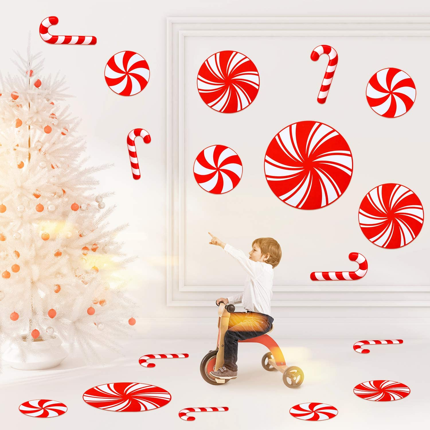 Gejoy 16 Pieces Peppermint Floor Decals Stickers and Christmas Candy Canes Floor Decals Stickers for Christmas Candy Party Winter Holiday Decoration Supplies, Red and White