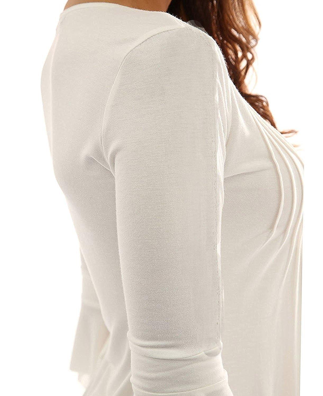 681b60d8eb4bc1 Minetom Donna Casuale Elegante Maglietta Manica Tunica Bottone Camicia  Manica 3/4 a Foglia di Loto Scollo V Casual T-Shirt Tops Blusa: Amazon.it:  ...