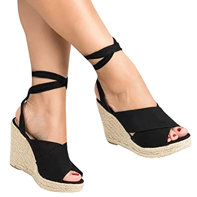 Ermonn Womens Lace Up Wedge Sandals Espadrille Peep Toe Tie Up Strappy Mid  Heel Braided Sandals ee3296fb68