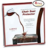 Clear Vinyl Chair Protectors Fits Chairs up to 21 Inches by 21 Inches - Set of 4 (Clear)