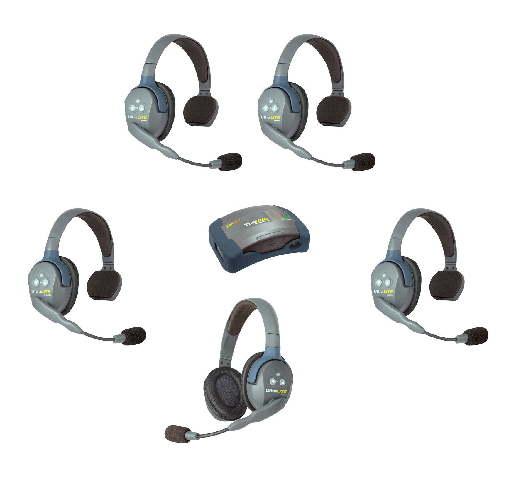 Eartec HUB541 - 5 Person System with 4 Single, 1 Double Wireless Communication Headsets and 1 HUB Mini Base Transceiver by Eartec