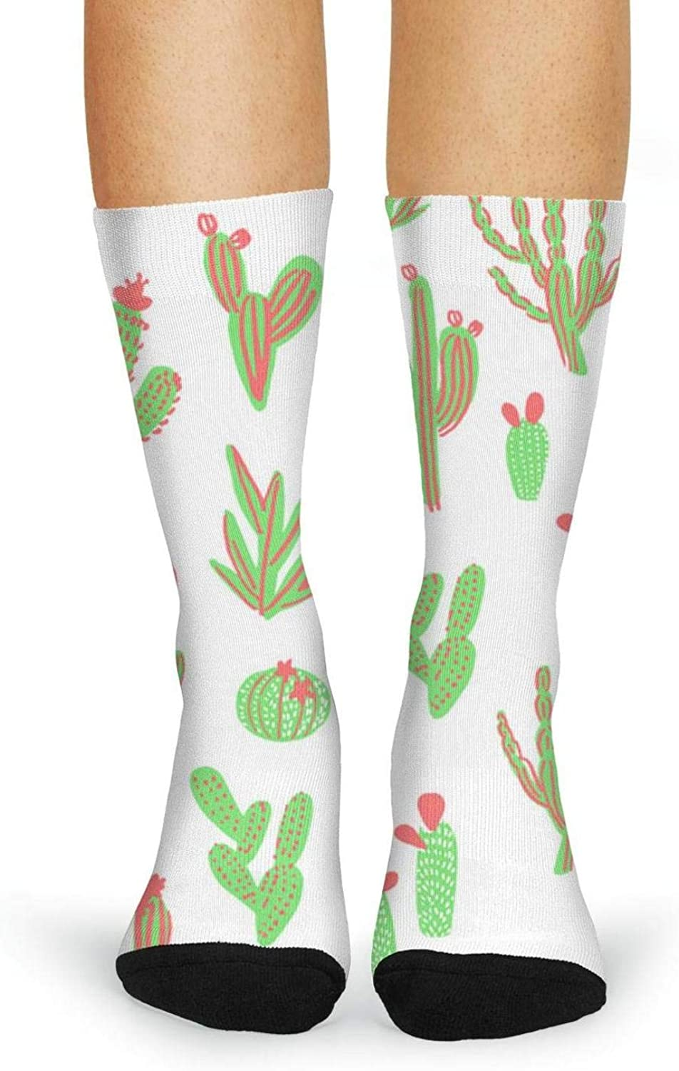 XIdan-die Womens Over-the-Calf Tube Socks Cactus Wallpaper Backgrounds Moisture Wicking Casual Socks