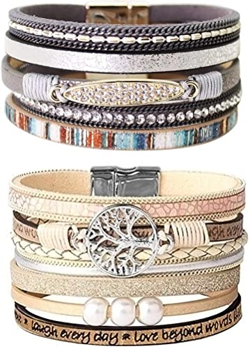 Tree of Life Leather Cuff Bracelet Engraved Wrap Bangle with Pearl for Women Teen Girl Boy Gift 2 Pcs
