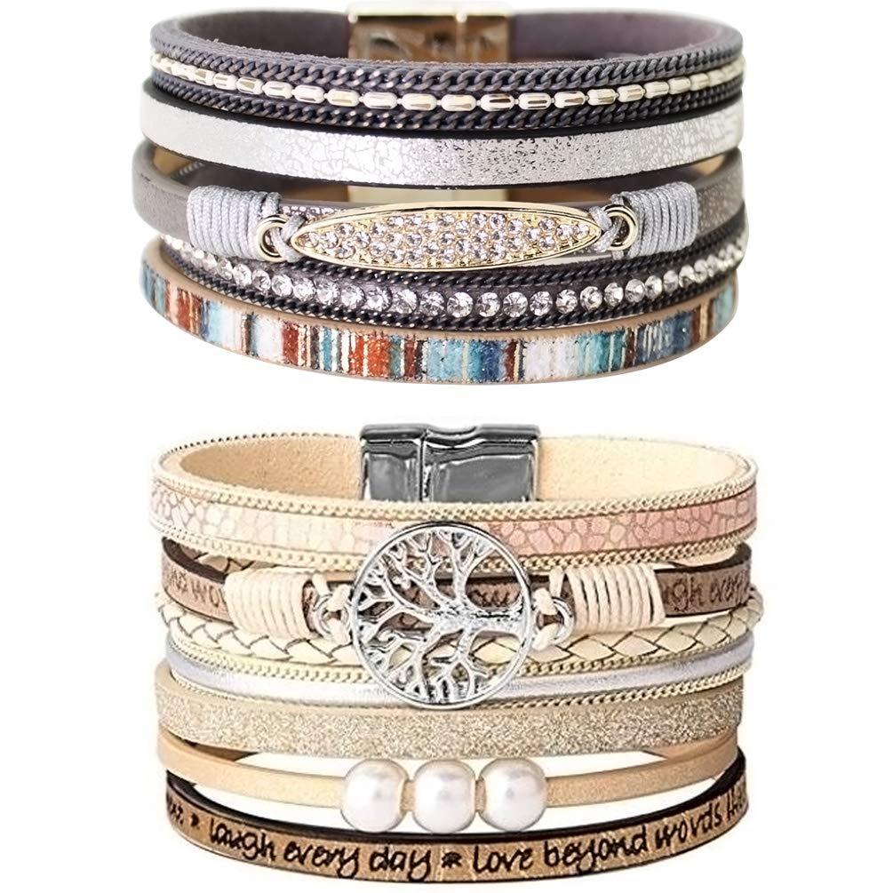 LightOnIt Womens Boho Wrap Leather Cuff Bracelet Baroque Pearl Tree of Life Bangle Handmade Wristbands Bohemian Jewelry Gift for Women Teen Girls by LightOnIt