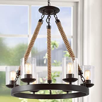 Lnc Farmhouse Chandelier For Dining Rooms Rustic Light Fixtures A02992 Brown Chandeliers Amazon Canada
