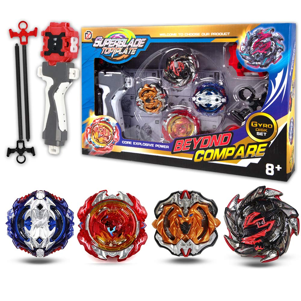 Bey Battling Top Burst Evolution Combination 4D Series | 4pcs Speed Gyro Metal | 2 throwers Set with Launcher | Combat Base Arena | Best Gift for Children Kids Toys by Sakeye