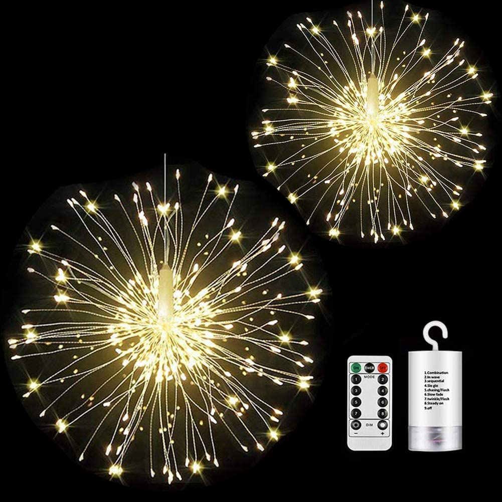 2 Pack Firework Lights Led Copper Wire Starburst String Lights 8 Modes Battery Operated Fairy Lights with Remote,Wedding Christmas Decorative Hanging Lights for Party Patio Garden Decoration