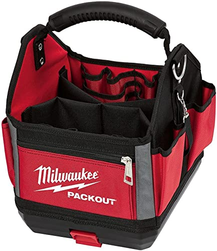Milwaukee 10 Packout Storage Tote with Impoact Resistant Molded Base, Durable Molded Handle and Reinforced Side Walls, 28 total Pockets, Designed for Ultimate Durability