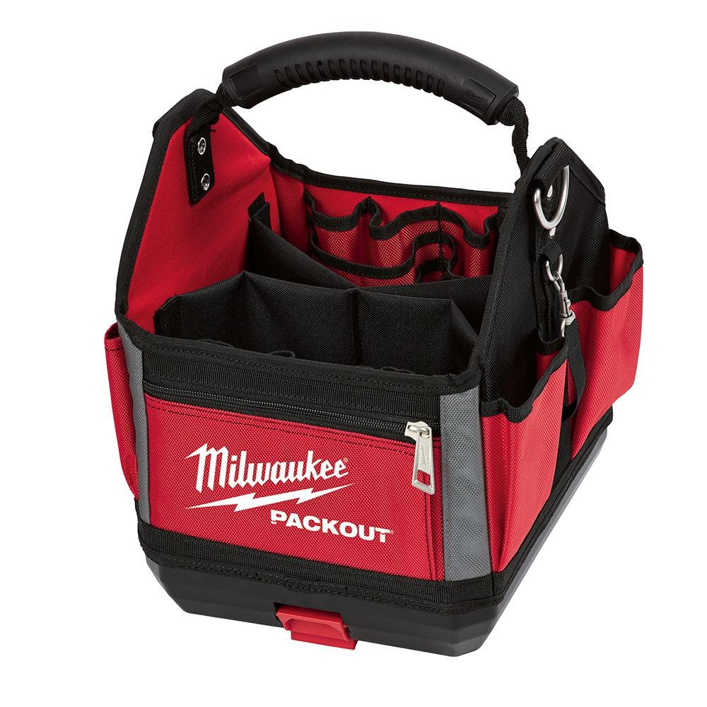 Milwaukee 10'' Packout Storage Tote with Impoact Resistant Molded Base, Durable Molded Handle and Reinforced Side Walls, 28 total Pockets, Designed for Ultimate Durability