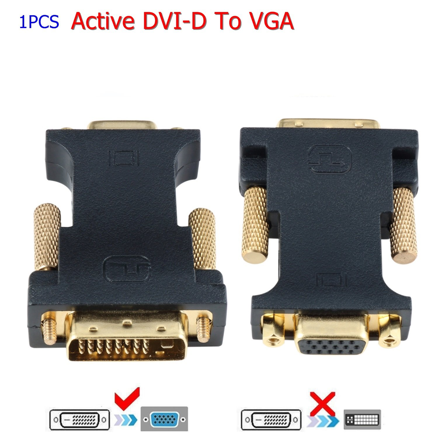 E0402 CHENLENIC Active DVI-D Dual Link 24+1 Male to VGA Female Video with Flat Cable Adapter Converter deep black
