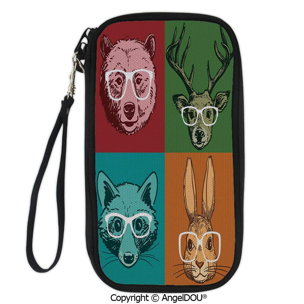 PUTIEN Portable diagonal dual-use samll Purse Hipster Retro Style Funny Wild Animals Faces with Glasses Line Art Drawing Decorative for Shopping travel picnic business.
