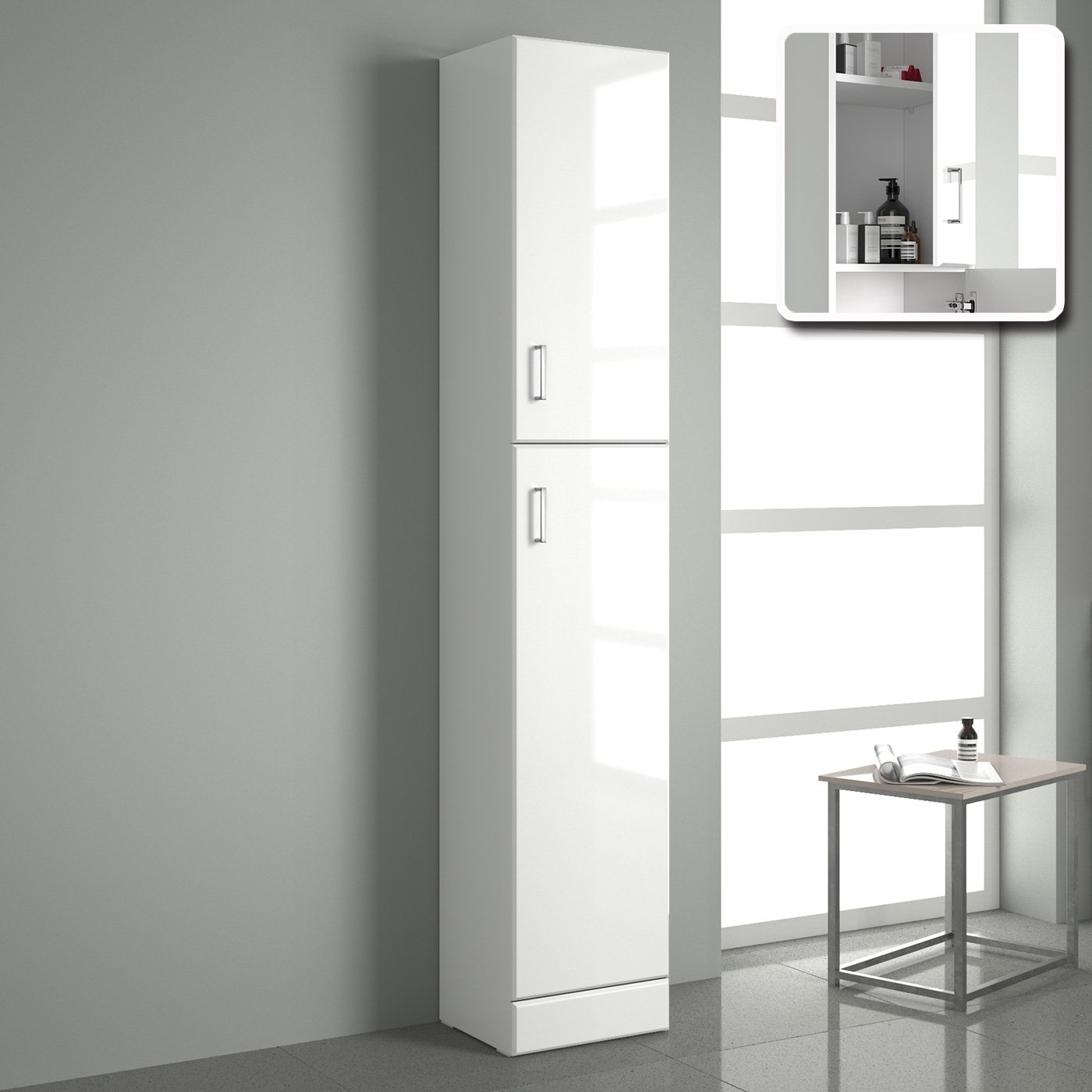 Bathroom cabinet storage image is loading mm tall white for Long kitchen wall units