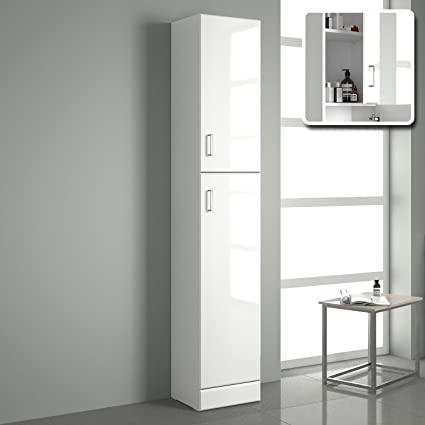 Cool Ibathuk Tall Gloss White Bathroom Cupboard Reversible Storage Furniture Cabinet Home Interior And Landscaping Ologienasavecom