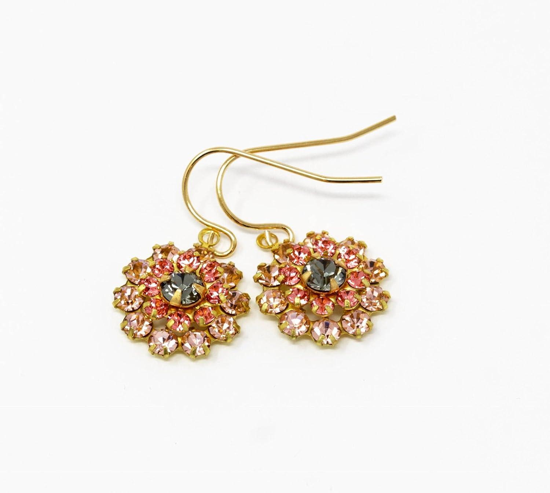 Vintage Swarovski Crystal Peach Earrings